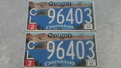 2 Pcs Vintage Oregon Crater Lake Blue License Plate Pair Tagged Collector Set