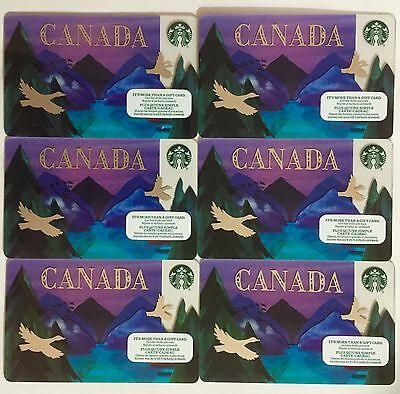 Lot of 6 STARBUCKS CARD CANADA 2016 Geese Purple Mountains New