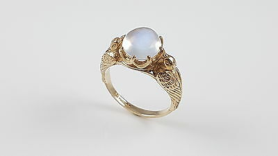 Vintage 9Ct Yellow Gold Moonstone Ring 1966
