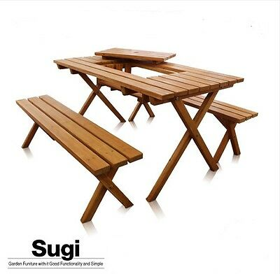Japanese Wooden Prefabricated Garden Table & Bench (2) Set made from cedar.