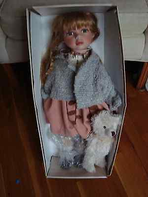 """French Acadian Country Girl Porcelain 24"""" Doll with Teddy Bear  NIB"""