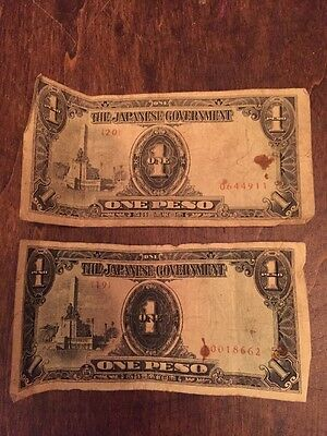 Pair Of Japanese Government One Peso Bills
