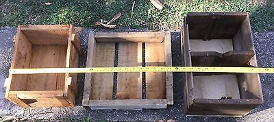 3 X Vintage rustic old shabby timber box Crate Wooden