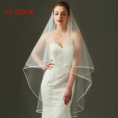 US STOCK White/Ivory 59 inch Long Wedding Bridal Veil Satin Edge NO Comb NEW