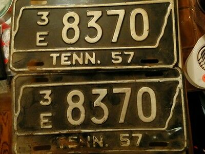 Pair of 1957 Tennessee License Plates 3e 8370