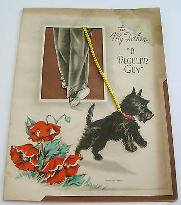 Used Vtg Greeting Card to Father Walking Scottie Dog by Red Poppies