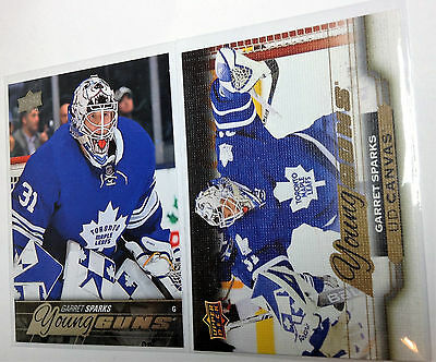 2015-16 GARRET SPARKS Upper Deck UD Young Guns CANVAS + YG Rookie RC Lot of 2