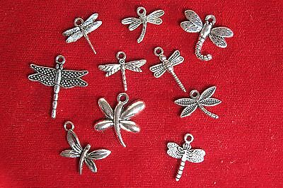 """10pc set """"dragonfly"""" charms in antique silver style (BC1140)"""