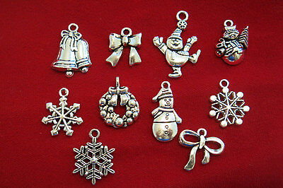 """10pc set """"Christmas"""" charms in antique silver style (BC834)"""