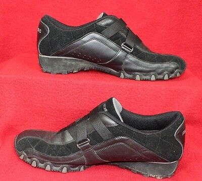 Womens Size 8.5 Skechers Black Velcro Bungee Running Walking Shoes Athletic 8.5