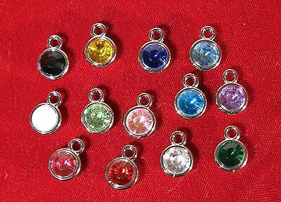 """13pc set """"birthstones"""" charms in antique silver style (BC980)"""