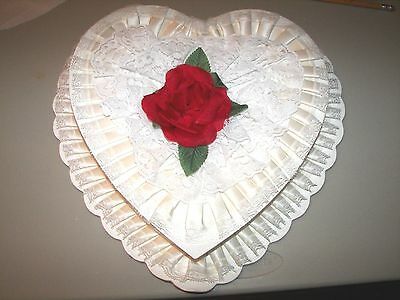 Vintage Valentine Large Heart Shape Candy Box = Very Good Condition  Collectible