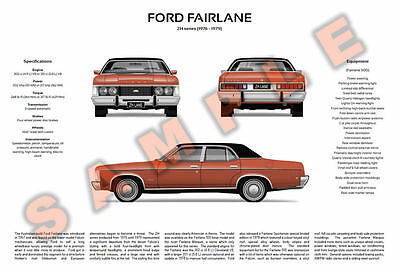 Ford ZH Fairlane 500 Marquis & P6 LTD Town Car Monarch customisable poster