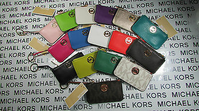 NWT Michael Kors Leather or PVC Fulton Key Pouch Wallets