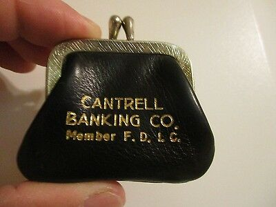 Rare Vintage Advertising Small Leather Coin Purse Cantrell Banking Co Etowah Tn.