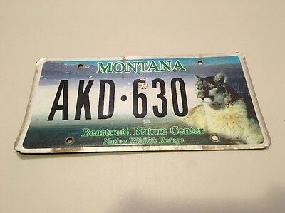 Montana Specialty License Plate Mountain Lion Bear tooth Nature Center AKD 630
