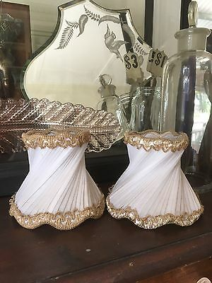 Vintage Chandelier Ballerina Clip On Light Shades Lamp Two Ornate Pleated