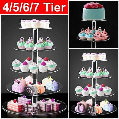 Acrylic Clear Round 4 5 6 7 Tier Wedding Party Birthday Cake Cupcake Stand Hot