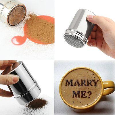 HOT! Stainless Steel Chocolate Shaker Cocoa Coffee Cinnamon Powder Duster Tank
