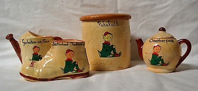Manor Ware 4pcs, Pixie Theme, Tea Pot,Watering Can,Biscuit Barrel, Boot