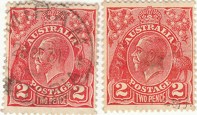 AUSTRALIA GEORGE V PAIR OF 2d RED STAMPS