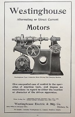 Antique 1904 Ad {F1}~Westinghouse Motors, Electric And Mfg. Co.