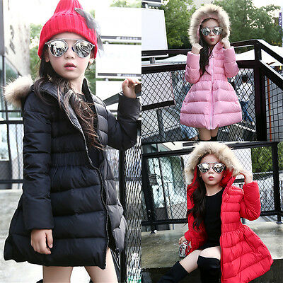 Boy Girl Toddler Kid Winter Hooded Clothes Padded Coat Jacket Fur Collar Outwear