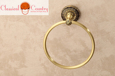 Unleaded Pure Brass Antique Chinese Circular Towel Racks Ring Round Holder Bars