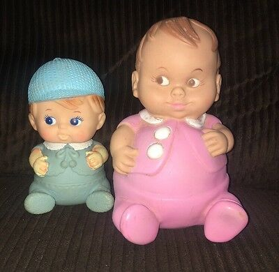 "1 Vintage 1967 Uneeda Doll Company "" Plum Pees"" Pink And 1 Vintage Squeaky Boy"
