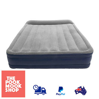 Deluxe Queen Double High Air Mattress Camping Sleeping Bed Inflatable w/ Pillow