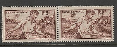 1940 FRANCE 1f+2f BROWN NATIONAL RELIEF FUND STAMP PAIR MNH