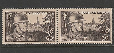 1940 FRANCE 40c+60c SOLDIERS COMFORT FUND STAMP PAIR MNH