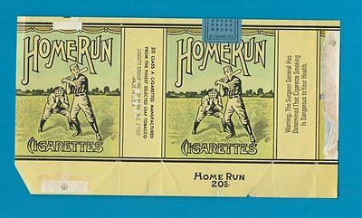 Old EMPTY cigarette packet Baseball HomeRun RARE USA pack  #661