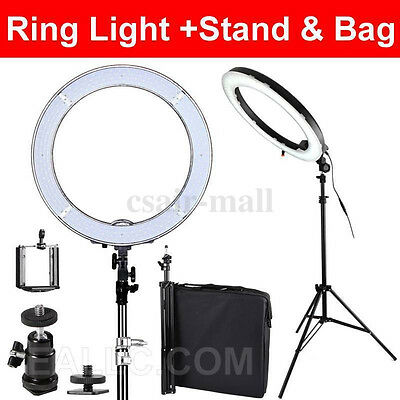"""240 LED Ring Light Dimmable Lighting 48.5cm 19"""" 55W Stand Make Up Studio AU"""