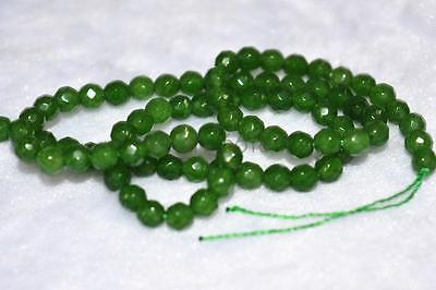 "4MM Dark green Emerald Faceted Round Gem Loose beads 15 "" Jewelry Accessories"