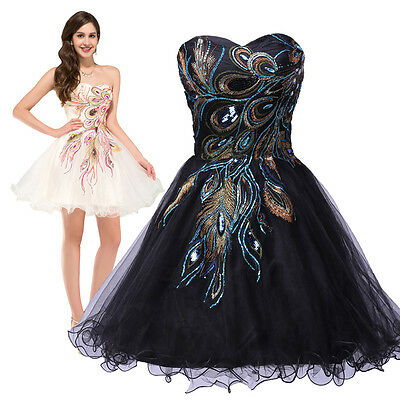 Peacock Party Masquerade Evening Short Cocktail Ball Gowns Prom Bridesmaid Dress