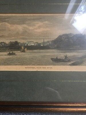 antique EDWARD WALFORD hand coloured engraving print BRENTFORD, From the River