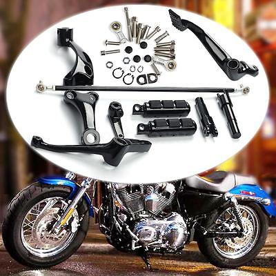 Black Forward Controls Foot Pegs Levers Linkages Kit Set For Harley Sportster