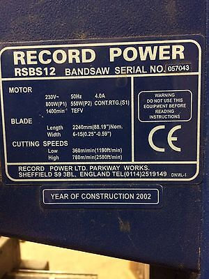 Record Power RSBS12 Bandsaw and new blades