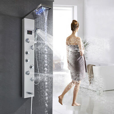 """55"""" Thermostatic Stainless Steel Shower Panel Rainfall Massage System With Jets"""