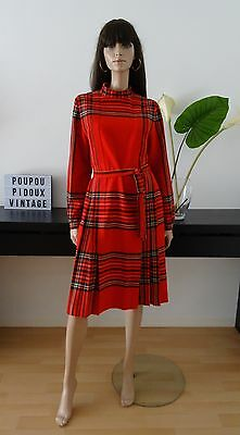 Robe vintage tartan rouge ecossais made in France taille 38 - uk 10 - us 6/dress