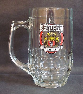 1 Faust Lager Handled Pint Glass Tankard Pub Home Bar German Beer Used