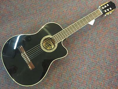 Stadium Nylon String Acoustic Electric Classical Guitar-Black-NEW! w/Shop Setup!