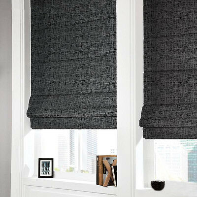 Classic New Linen Textured Roman Blinds - 100% Blockout for Room Darkening