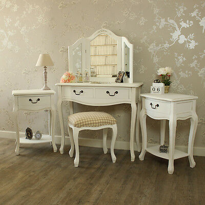 White Dressing Table Stool Mirror 2 bedside tables Shabby French Chic bundle