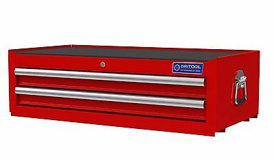 BRITOOL HALLMARK TOOLBOX MID 2 DRAWER RED 933 x 459 x 282mm WITH DRAW LINERS