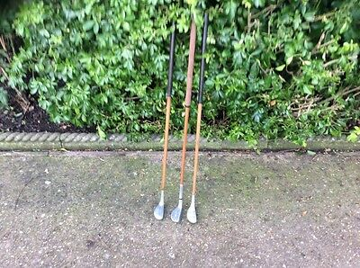 Three Hickory Shafted Mallet Head Putters In Tidy Condition.