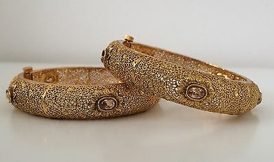 Bollywood Style/ Indian Jewellery/ Party wear/ 2 Gold Hinge Bangles