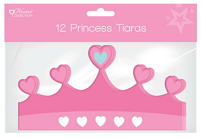 Pack of 12 Children's Cardboard Birthday Party Hats - Girls Princess Tiara's