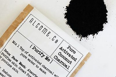 100% Activated CHARCOAL Fine Powder ORGANIC Whitening Coconut 10g TOOTHPASTE